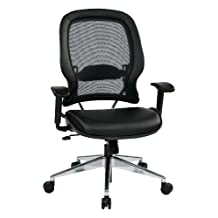 SPACE Seating Professional Air Grid Back Polished Aluminum Base Managers Chair, Black