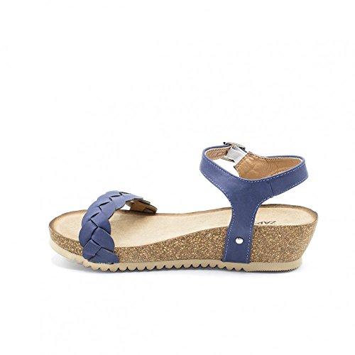 Para Trenza Zapshop Azul Mujer Minicuña Sandalia wBYWxtfqFA