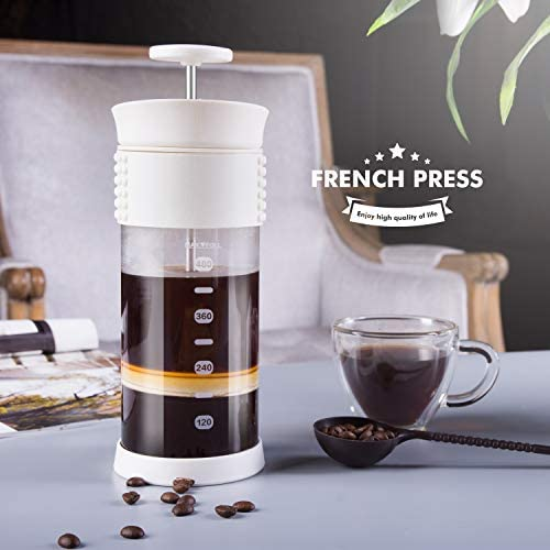 SULIVES Glass French Press Hand-Held Travel Coffee Maker With Stainless Steel Filter Heat-Resistant 16oz Portable Tea Press Pot 480ml 4Cups White
