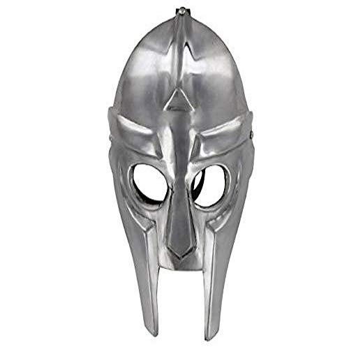 Mythrojan MF Doom Madvillain Gladiator Face Mask with Leather Hide Straps - 18 Gauges Silver -