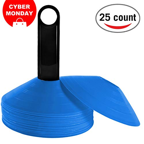 REEHUT (Set of 25 Agility Disc Cone with Free User E-Book & Plastic Holder - Perfect for Soccer, Football & Any Ball Game to Mark - Disc Mini Training Cones - Field Markers - Blue