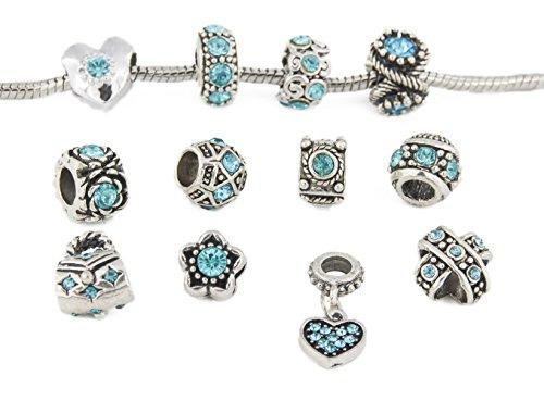 Yeshan 12pcs Antique Silver Crystal Rhinestone Birthstone Bead Charm Spacer Fits Snake Chain Bracelet with a Snake Chain Charm Bracelet Free -Light Blue