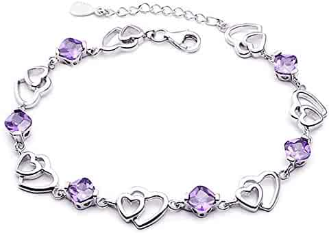 menoa Double Love Heart Link Bracelet 6.4inches Adjustable White Gold Plated Forever Gift