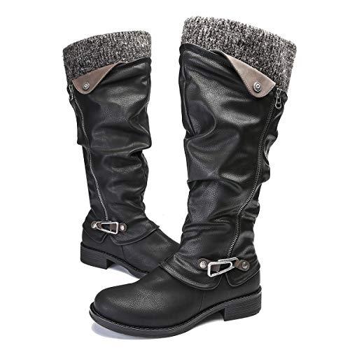 Noir Synthétique Ville Chaussures En Pour Gracosy Mollets Noires De Cuir Larges Fourrure Neige Fourrées Femmes Hiver Bottines Hautes Cuissardes Bottes Plates PFxqvFOCRw
