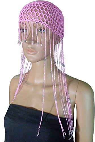 Belly Dance Costume Egyptian Metal Cleopatra Cobra Crown & Armlet Halloween 403 (Pink X Pink Beads) (Egyptian Cobra Costume)