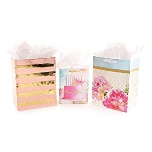 Hallmark Assorted Birthday Gift Bag Bundle with Tissue Paper (1 Medium and 2 Large Bags, Gold and Pink)