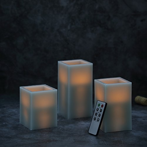 CEDAR HOME Battery Operated Flameless LED Wax Square Pillar Candle with Remote, Set of 3, Antique Teal by CEDAR HOME (Image #3)