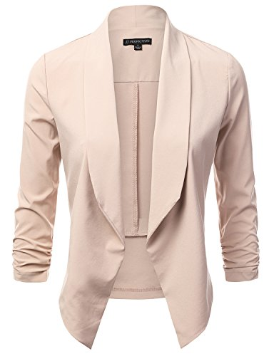 JJ Perfection Women's Lightweight Chiffon Ruched Sleeve Open-Front Blazer BEIGE L