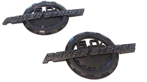 2 NEW MATTE BLACK FORD CUSTOM 6.0L F250 F350 POWERSTROKE DOOR BADGES EMBLEMS SET PAIR (Custom Truck Emblems)
