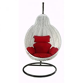 Arcwood Interiors Rattan & Wicker Single Seater Swing Chair (White_114.3 x 91.4 x 76.2 Cm)With Stand