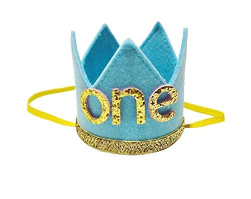 E&L Blue Crown One Birthday Headband, Premium Quality Headband, for Baby Boy 1st Birthday Decoration