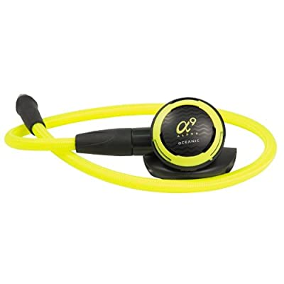 New Oceanic Alpha 9 Scuba Diving Octopus Regulator with FREE Upgrade to 36 Inch (91.4cm) Neon Yellow MaxFlex Braided Hose
