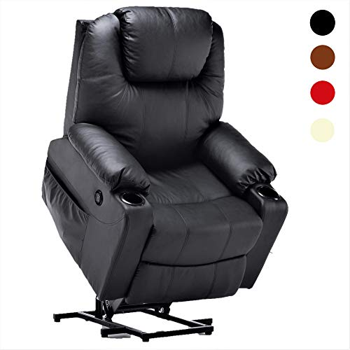 Mcombo Electric Power Lift Massage Sofa Recliner Heated Chair Lounge w/Remote Control USB Charging Ports, 7045 (Black)