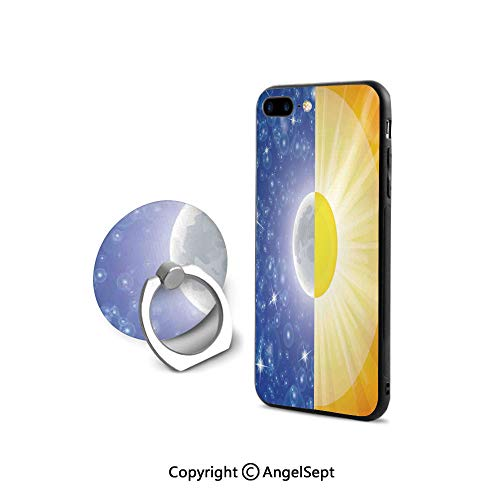 Case Compatible iPhone 8 & iPhone 7 (NOT Plus) with Ring Holder Kickstand,Split Design with Stars in The Sky and Sun Beams Light Solar Balance Image,Durable Soft Touching,Blue Yellow