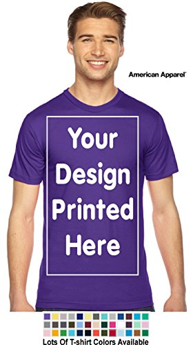 Custom T-Shirt. Personalized Tee. Add Your Design Logo Image Picture (M, Purple - American Apparel)