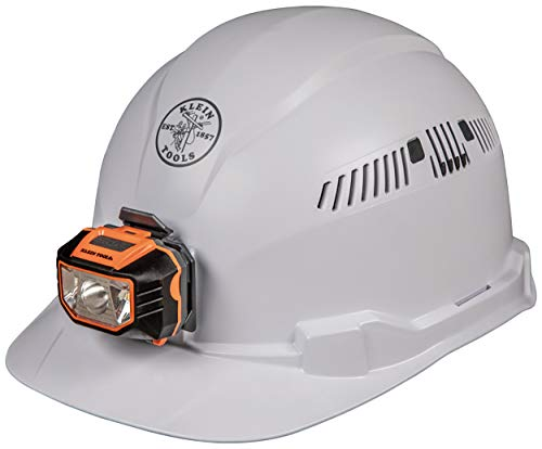 Klein Tools 60113 Hard Hat with Light, Vented Cap Style, Padded, Self-Wicking Odor-Resistant Sweatband, White