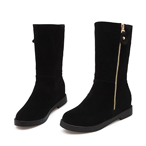 AllhqFashion Womens Frosted Zipper Round Closed Toe Kitten-Heels Low-top Boots Black Y7at5ltm
