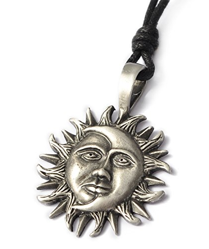Yin Yang Sun Moon Silver Pewter Charm Necklace Pendant Jewelry ()