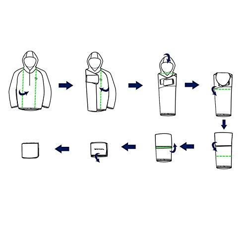Baleaf Unisex Einpackbar Wasserdicht Wetterschutz Jacke Regenjacke mit Kapuze Poncho Regenmantel
