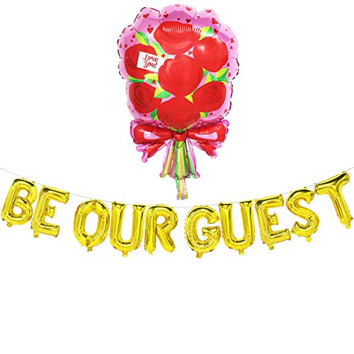 Be Our Guest Banner Sign - Reception Banner - Be Our Guest Balloons - Wedding, Baby Shower, Bachelorete Party, Engagement Party, Birthday Party Decorations ()