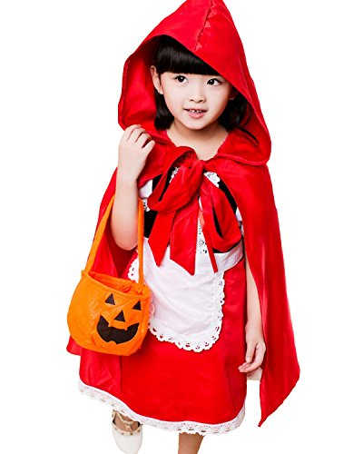 Aifang Happy Halloween Girls Kids Deluxe Red Riding Hood Dress Make-up Costume Cosplay For Children 2XL