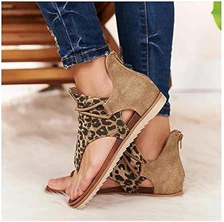 77JOK 2020 Newest Womens Super Posh Gladiator Comfy Sandals Ladies Fashion Flat Slip On Sandals Casual Vintage Shoes with Zipper