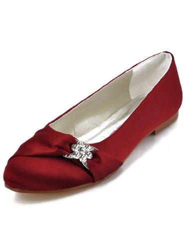 ElegantPark EP2006 Women Closed Rhinestones Comfort Flats Pleated Satin Wedding Bridal Shoes Burgundy US (Pleated Satin Flat)