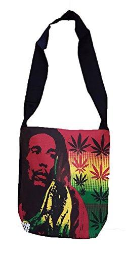 New Bob Marley con diseño de estampado de Rasta de hojas de hecha a mano Bolsa bandolera de lona