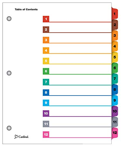 Cardinal OneStep Index System, 12-Tab, Numbered, Multi-Color, 1 Set (61218) ()