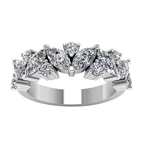 3.00 Ct Marquise & Round Cut Simulated Diamond Half Eternity Wedding Anniversary Band Ring 14K White Real Gold 7