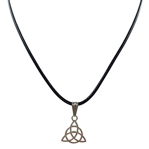 COOKI Women Men Retro Peace Triangle Necklace Pendant Black Leather Cord Choker Charm Fashion Necklaces Jewelry Gifts on Sale Clearance Q7 (B)