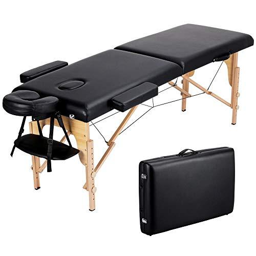 Topeakmart 84 Inch Massage Table Portable Massage Bed Spa Bed 2 Folding Adjustable Salon Bed Face Cradle Bed with Carring Case Black