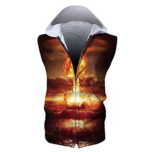 Men's Waistcoat Casual Hooded,Country,Bomb in The Ocean Fusion Radioactive Weapo
