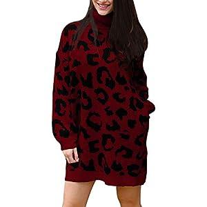 Pink Queen Women's Loose Turtleneck Oversize Long Pullover Sweater Dress