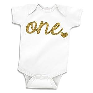 Girl First Birthday Shirt, One Glitter Gold Baby Bodysuit