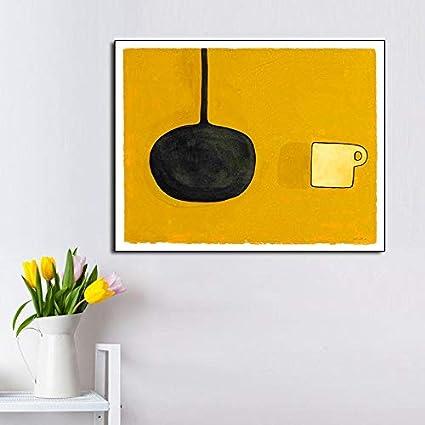 YuanMinglu Cartel Abstracto Minimalista Amarillo Arte de la Pared Pintura Moderna Pintura sobre Lienzo decoración del hogar Sala de Estar Pintura sin marco40x60cm