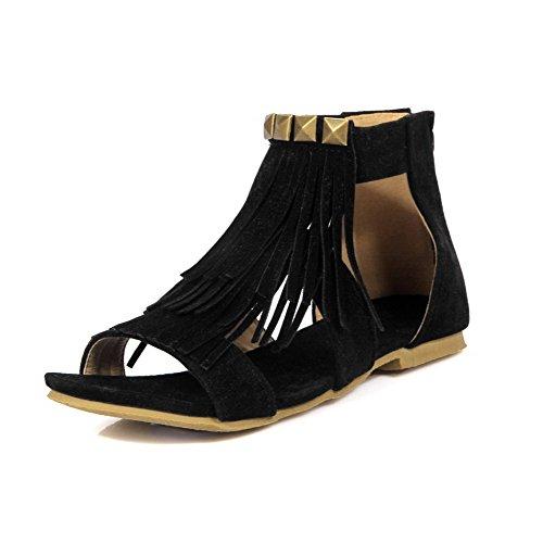 No Flats Zipper Women's Imitated Solid WeenFashion Suede Sandals Toe Heel Open Black IzqTgwxg