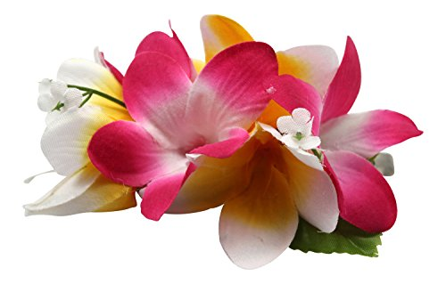 Hawaii Luau Party Artificial Fabric Plumeria Hair Clip Pink White (The Hangover Costume)