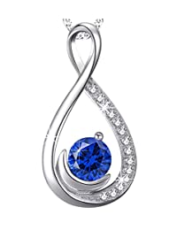 """September Birthstone Jewelry Blue Sapphire Necklace for Women Birthday for Her Sterling Silver Love Infinity Pendant-18+2"""" Chain"""