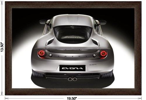 Lotus Evora 2009 Framed Car Art Poster Print Silver Rear Studio View in Dark