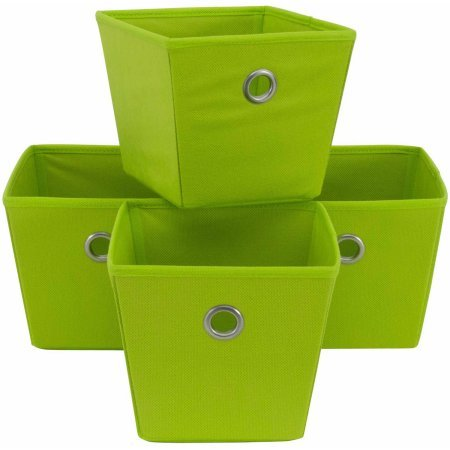 Mainstays Non-Woven Bins | Store Items on Shelves or in a Closet, 4-Pack (Lime Mambo)