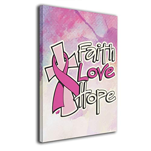 Okoart Canvas Wall Art Prints Faith Love Hope Breast Cancer Awareness -Picture Paintings Modern Home Decoration Giclee Artwork-Wood Frame Gallery Stretched 16