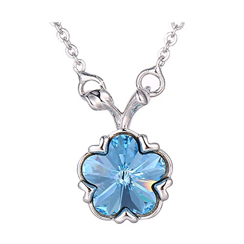 Costumes Dubai Marina (Xuping Silver Color Plated Flower Shade Pendant Jewelry Crystals from Swarovski Necklace With Chain Women Halloween Gift (Aquamarine))