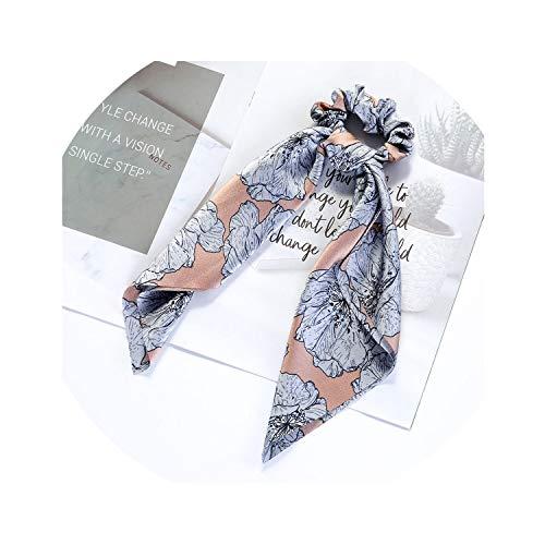 Women Vintage Big Bowknot Ribbon Hair Scrunchies Elastic Print Fabric Satin Hair Ties Holder Hairbands Girls Hair Accessories,N