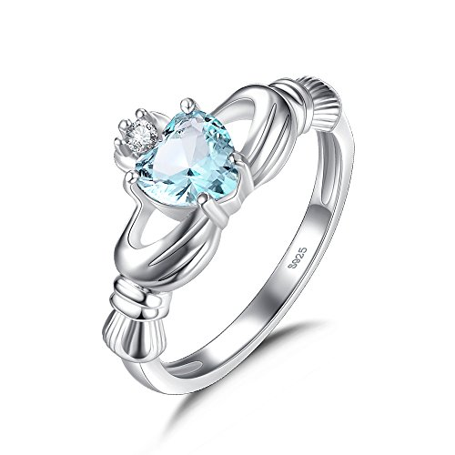 Oval Blue Crystal Zirconia Claddagh Ring for Women with Heart Shaped Stone...