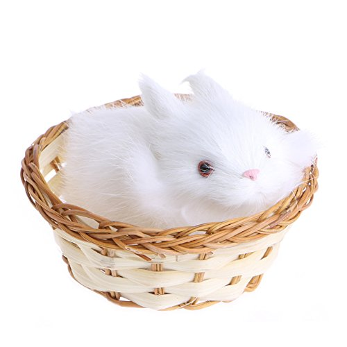 SCASTOE Hare Rabbit Figurine Collection Miniature Furry Animals Plush Children Toy (Stuffed Miniature Toys)