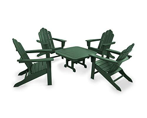 POLYWOOD PWS179-1-GR Long Island 5-Piece Conversation Group Adirondack Seating Set, ()
