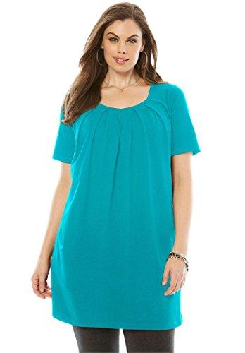 Roamans Womens Plus Size Pleat Neck Maxi Tunic