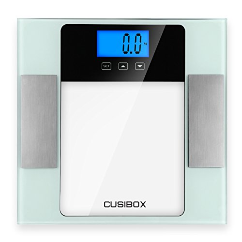 Digital Body Weight Scale, CUSIBOX Smart BMI Body Fat Scale Monitor Bathroom Scale with 10 Users Memory Mode, Large LCD Display, 6mm Tempered Glass, Step-on and Non-Slip Technology, 400Pounds