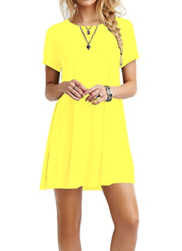 Yellow Cotton Dress - TINYHI Women's Swing Loose Short Sleeve Tshirt Fit Comfy Casual Flowy Tunic Dress Yellow,Medium